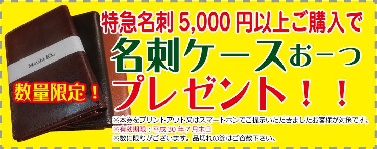 特急スピード名刺5000円以上お買い上げで、レザー調名刺ケース無料プレゼント!