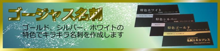 大阪で、金色印刷、銀色印刷、白色印刷に対応した名刺印刷サービス。ゴールド印刷、シルバー印刷、ホワイト印刷の特色印刷を用いたゴージャス名刺はお任せください!